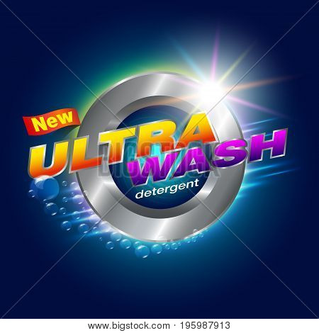 New Ultra Wash Design Template for Detergents Used as a detergent illustration. For front-door washer Showcasing modern clean energy for the future. Vector illustration Realistic.