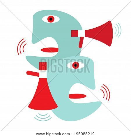 Modern abstract illustration about political rally and usually empty campaign promises. Contemporary politics candidates or public opinion leaders drawn in a cubism styled caricature. Propaganda icon.