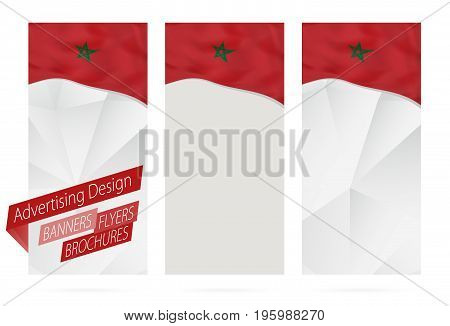 Design Of Banners, Flyers, Brochures With Flag Of Morocco.