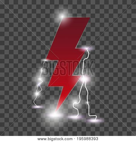 Isolated realistic lightning with transparency for design. Lightning flat icon