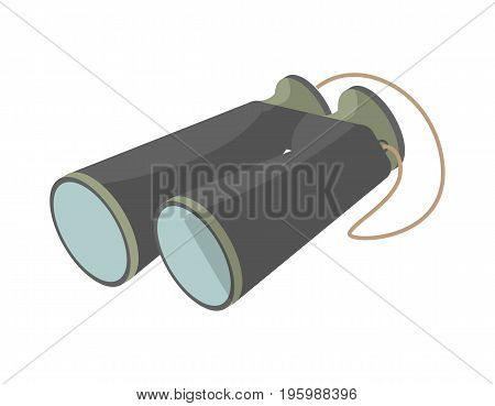 Tourist binoculars icon. Campsite equipment, outdoor traveling, nature vacation, fishing or hunting isolated vector illustration in flat design.