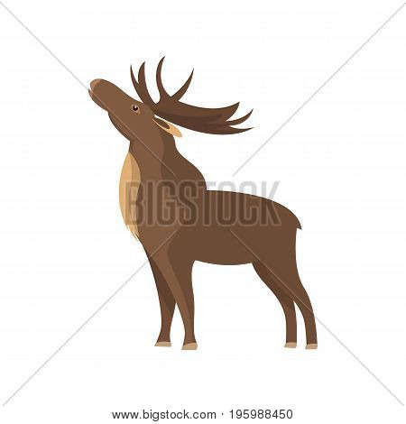 Bull elk icon. Hunting object, outdoor hobby, animal catching isolated vector illustration in flat design.