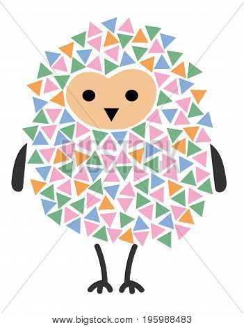 Vector illustration of a cartoon owl. Stylized owl. Art for children. A bird from geometric figures.