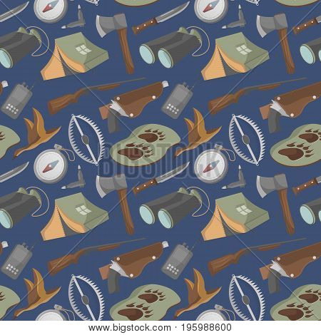 Seamless pattern with hunting equipment icons. Tourist tent, flask, ax, trap, binoculars, hat, compass, communication radio, gun, shotgun, knife, deer, duck. Hunter ammunition vector illustration