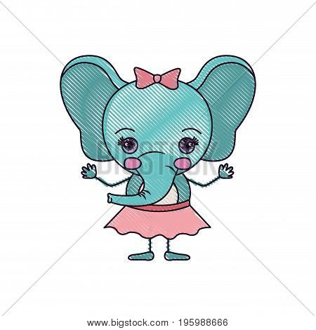 color crayon silhouette caricature of adorable expression female elephant in skirt with bow lace vector illustration