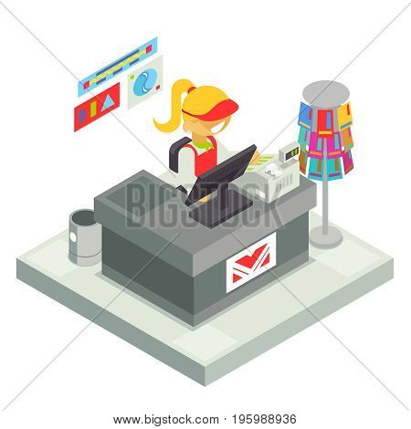 Cashier Seller Cashbox Isometric Stall Shop Business Sell Goods Offer Sale Store Market Icon Flat Design Vector Illustration