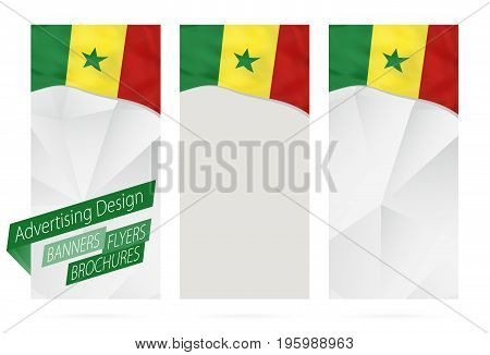 Design Of Banners, Flyers, Brochures With Flag Of Senegal.