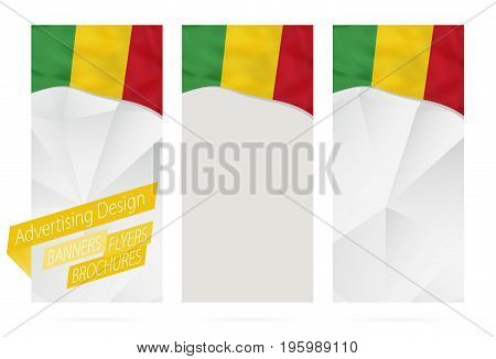 Design Of Banners, Flyers, Brochures With Flag Of Mali.