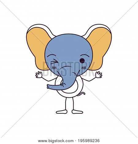 silhouette color sections caricature of cute elephant wink eye expression with hands up vector illustration