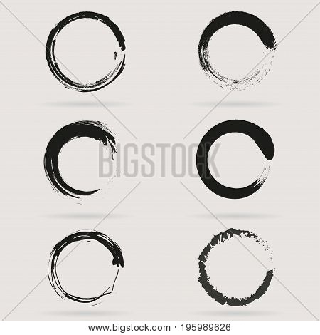 Set of 6 Hand Drawn Scribble Circles, vector logo design elements