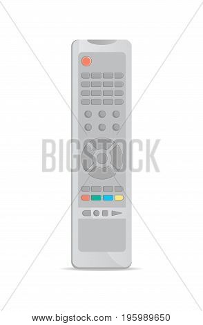 Universal remote control for TV icon. Front view modern infrared controller with buttons isolated on white background vector illustration.