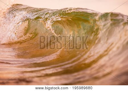 Wave at sunset in ocean. Warm wave and sun light