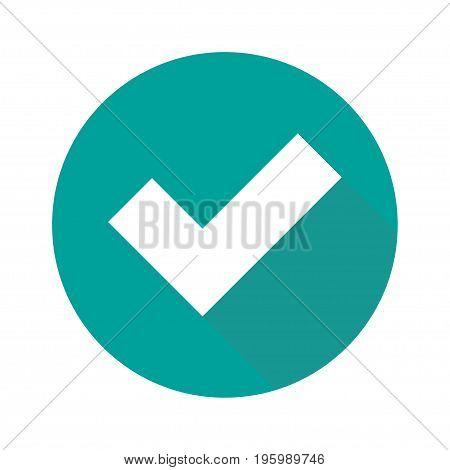 Flat check mark icon isolated on white background