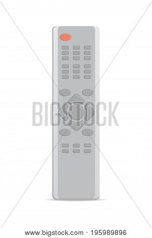 Remote control for satellite receiver icon. Front view modern infrared controller with buttons isolated on white background vector illustration.