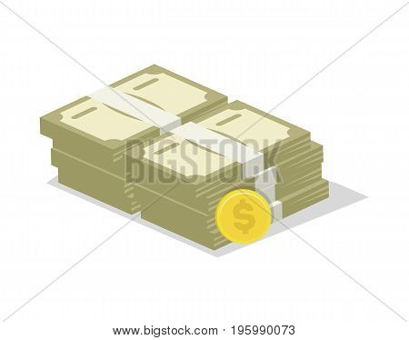 Packing in bundles of banknotes icon. Money success symbol, financial and banking sign isolated on white background vector illustration.