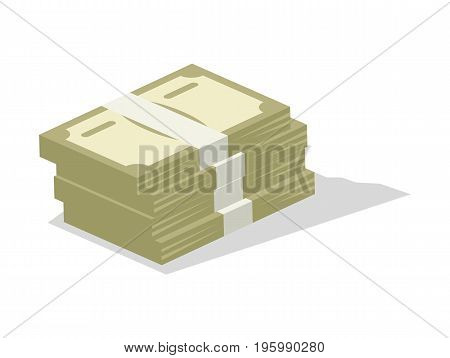 Pile of cash icon. Money success symbol, financial and banking sign isolated on white background vector illustration.