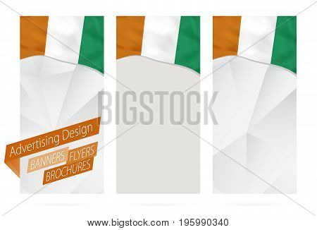 Design Of Banners, Flyers, Brochures With Flag Of Ivory Coast.