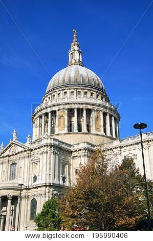 London, UK, October 11, 2008 : St Paul's Cathedral  built by Sir Christopher Wren after The Great Fire Of London is one of the most popular tourist attractions of the city