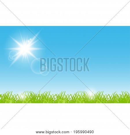 Grass sky sun beautiful scenery. Nature background with rays and flares. Banner summer time