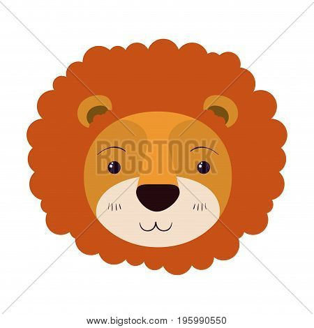 colorful caricature cute face of lion tranquility expression with mane vector illustration