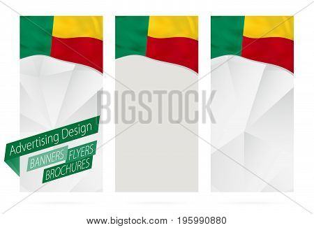 Design Of Banners, Flyers, Brochures With Flag Of Benin.