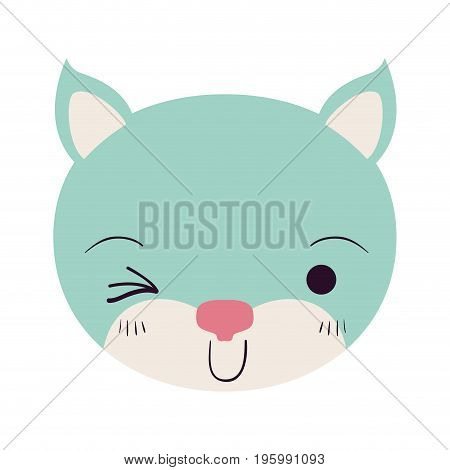 colorful caricature cute face of kitten wink eye expression vector illustration
