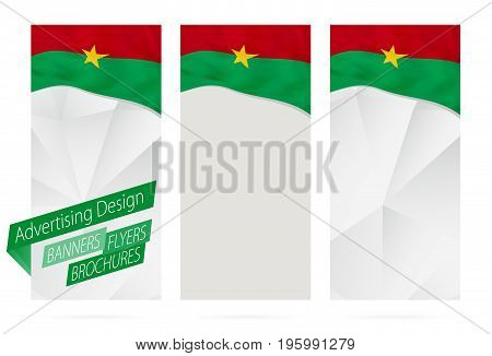 Design Of Banners, Flyers, Brochures With Flag Of Burkina Faso.