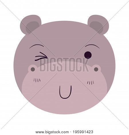 colorful caricature cute face of hippo wink eye expression vector illustration