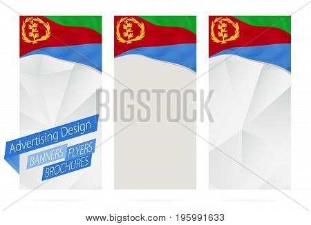Design Of Banners, Flyers, Brochures With Flag Of Eritrea.