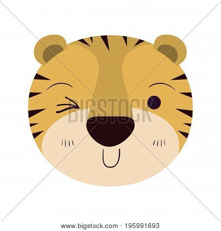 colorful caricature cute face of tiger wink eye expression vector illustration