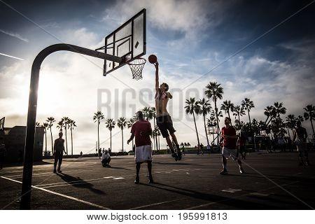 Los Angeles, USA - October 22: Public basketball games at Venice Beach Recreation Center in Los Angeles, California, USA