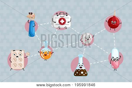 Human health medical poster. Test tube, syringe, first aid kit, pills blister cute cartoon characters, professional treatment vector illustration. Human medicine, healthcare science infographics.
