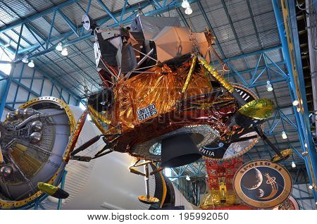FLORIDA, USA - DEC 20, 2010: Replica of Apollo Lunar Module in Kennedy Space Center Visitor Complex, Cape Canaveral, Florida, USA.