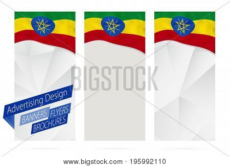 Design Of Banners, Flyers, Brochures With Flag Of Ethiopia.