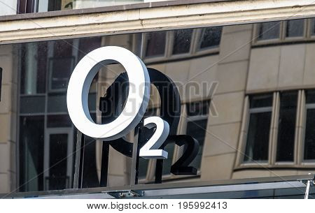 HAMBURG , GERMANY - JULY 14 2017 : The O2 store is located directly close to the townhall in the city of Hamburg
