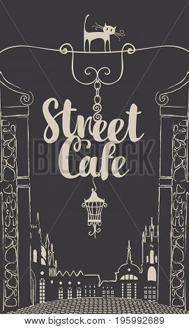 Vector banner for street cafe with street sign on the dark background of old city landscape in retro style