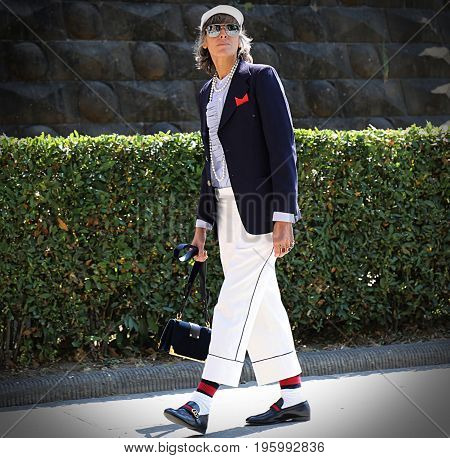 FLORENCE- 13 June 2017 Ana Gimeno stylist e fashion consulting on the street during the Pitti
