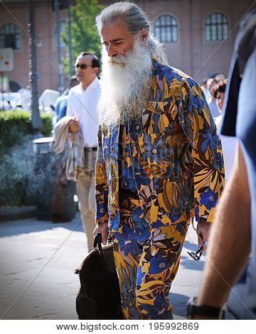 FLORENCE- 13 June 2017 Angelo Gallamini creative designer on the street during the Pitti