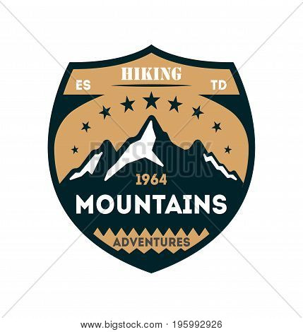Hiking adventures vintage isolated badge. Outdoor expedition symbol, mountain and forest explorer, touristic extreme trip label vector illustration