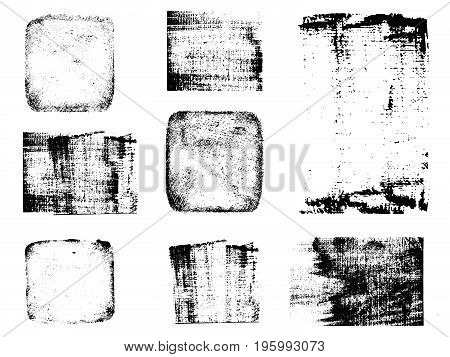Grunge post stamps collection. Banners logos Icons labels and badges set . Vector distress textures blank shapes.