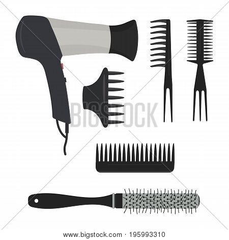 Hair dryer and different types of hair brushes on a white background. Vector illustration.