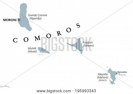 Comoros political map with capital Moroni and French island Mayotte. Union and sovereign archipelago island nation in the Indian Ocean. Gray illustration on white background. English labeling. Vector.