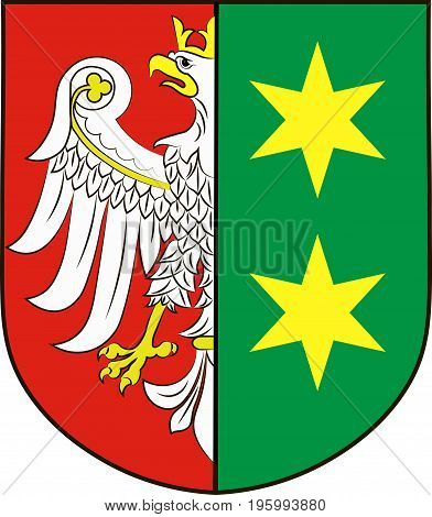 Coat of arms of Lubusz Voivodeship or Lubuskie Province in western Poland. Vector illustration from Giovanni Santi-Mazzini Heraldic 2003