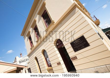 The historic Beechworth Bank of Victoria Building on a warm autumn day in Victoria, Australia