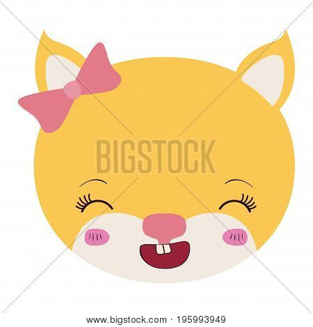 colorful caricature face of female kitten animal smiling expression vector illustration