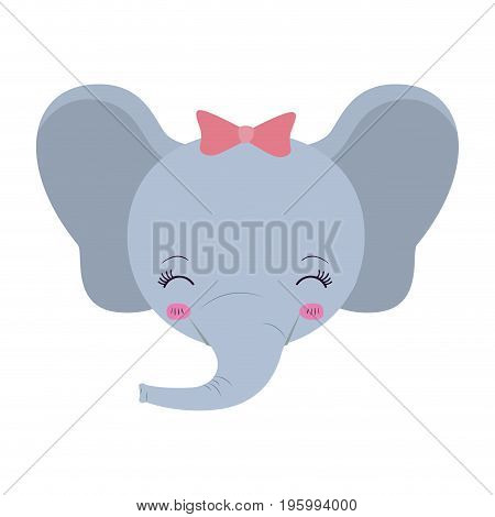 colorful caricature face of female elephant animal eyes closed and happiness expression vector illustration