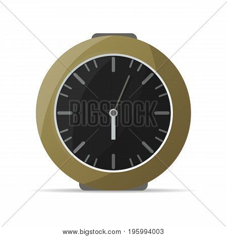 Analog kitchen clock icon. Mechanical time chronometer, retro alarm clock isolated vector illustration in flat style.