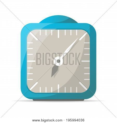 Blue analog alarm clock icon. Mechanical time chronometer, retro watch isolated vector illustration in flat style.