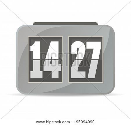 Grey analog flip clock icon. Mechanical time chronometer, retro watch isolated vector illustration in flat style.