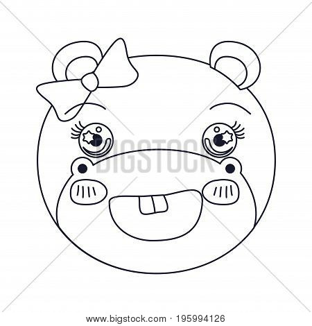 sketch silhouette caricature face of female hippo animal adorable expression vector illustration